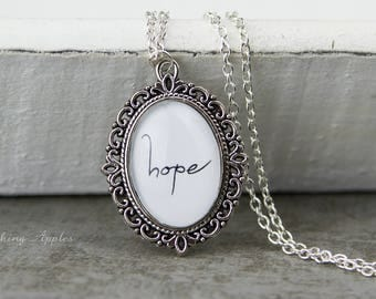 "Necklace ""Hope"" / quote, love message, quote, love, minimalist,"