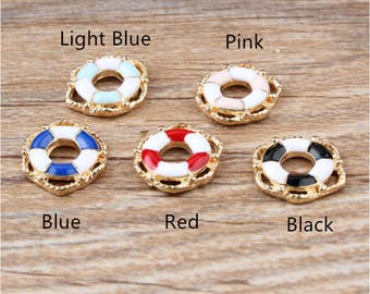 10pcs Wholesale Different Colors Life buoy Enamel Charms Pendant For Bracelet Necklace Jewelry Accessories, Two-color Life Buoy Charms
