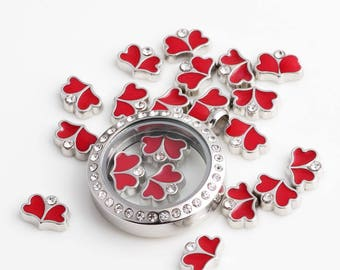 20pcs Cute Fish,Shark,Double Heart Charm, Floating Lockets Charms Pendant Fit Lockets Necklace Locket Heart Charms Necklace Pendant Jewelry