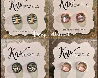 Photo Earrings, Deer Earrings, Rose Earrings, Cute Earrings, Skull Studs
