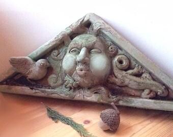 Concrete pediment face sculpture for home or garden, wall sculpture, pediment, face, architectural decor, garden sculpture, face plaque
