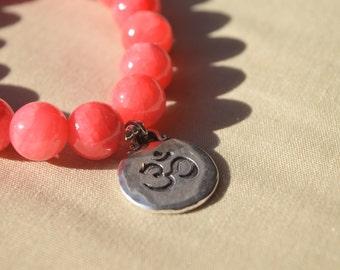Red Dyed Quartzite beaded bracelet Namaste Charm