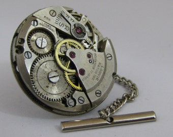 Vintage Steampunk Watch Movement TIE TACK Tie Clip Mixed Media Assemblage Jewelry L14