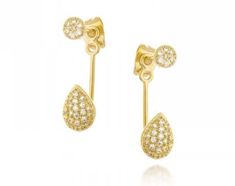 Vintage earrings goldfield 14 k 3 micro. jewelry with great care.zircon aaa stons Amazing earrings for every occasion