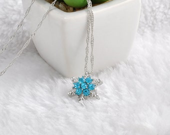 Charm Blue Crystal Snowflake Zircon Silver Necklace