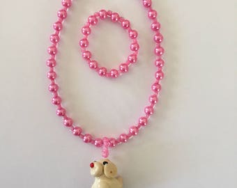 American Girl Doll jewelry set with dog charm focal and pearl sides on necklace and bracelet