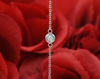 Bezel Set Diamond Bracelet for Women.Women's 0.10Ct. Brilliant Round Cut Diamond Bracelet.Minimalist Bracelet.14K Solitaire Diamond Bracelet