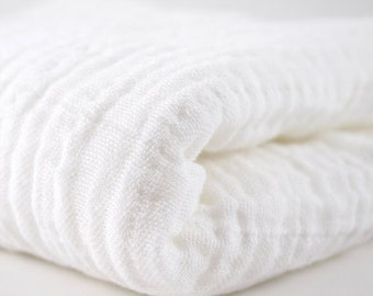 Embrace Double Gauze Fabric in Snow (white) - 100% cotton muslin swaddle fabric by the yard