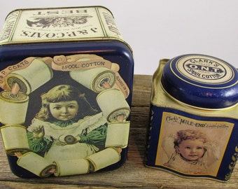 Pair of Vintage Sewing Tins - Reproduction J&P Coats and Clark's Spool Cotton