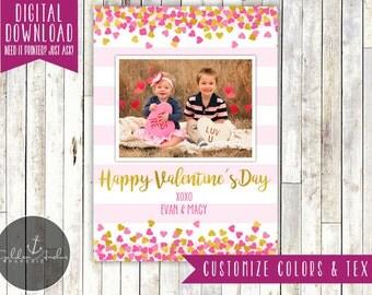 Heart Confetti Photo Valentine's Day Card - Printable DIY