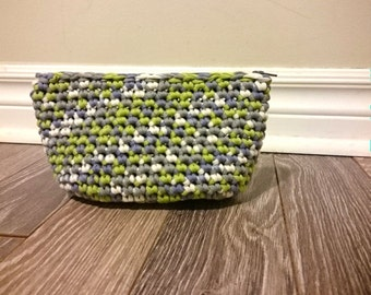 Green × gray pouch