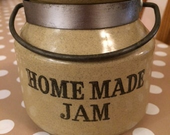 Vintage / Rustic Moira English Stoneware Jam Jar with Metal Handle for Homemade Jam c. 1960's