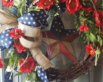 Red wreath, summer wreath 4th July wreath, door hanger,  red and blue wreath, red white and blue wreath,
