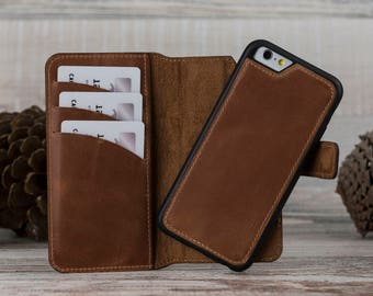 Brown Leather iPhone 6 Case, Detachable Magnet Wallet Case, iPhone 6 Leather Case, iPhone 6S Case, iPhone 6S Leather Case, Dad Gift