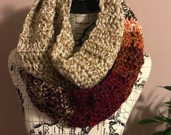 Crochet Infinity scarf, striped scarf, multicolor scarf