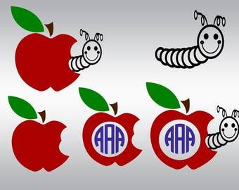 Back to school svg, Apple svg, Apple monogram svg, Apple worm svg, School svg, Teacher svg, 100 days svg, Cricut, Cameo, Svg, DXF, Png, Eps