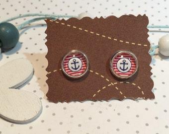 Sailing boat, maritime earrings cabochon earrings