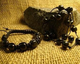 Shungite set bracelet and necklace with squares of Karelia.