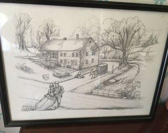 Rick Wisecarver 1988 Printed Sketch of Headley Inn