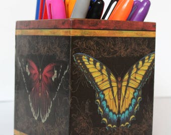 Pen Holder/Desk Tidy with a butterfly design