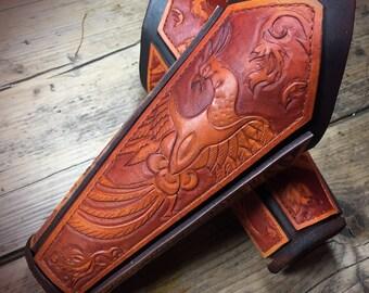 Hand Tooled Fire Bird Bracers, Vambrace. Free Shippinging UK. Larp, Armour, Medieval, Viking, Slavic Leather Armour