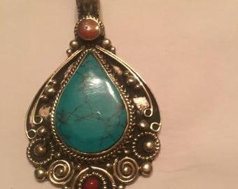 Tibetin Silver Turquoise Pendent