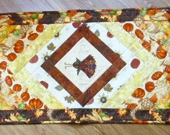 """Quilted Autumn Earth Tones Table Runner 53"""" long"""