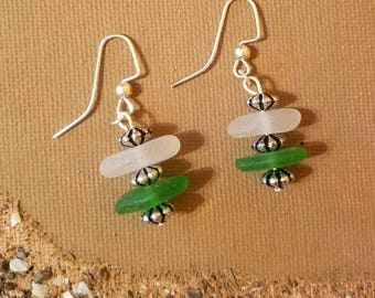 Lake Erie beach glass earrings in two colors with silvertone accents