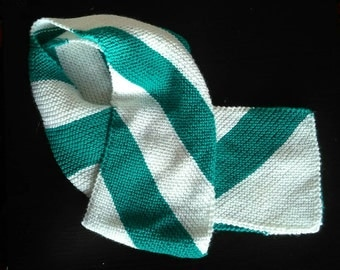 Jade green and cream long scarf