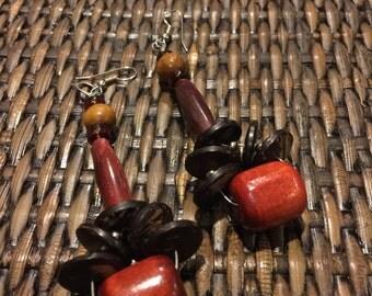 Wooden teardrop floret earrings