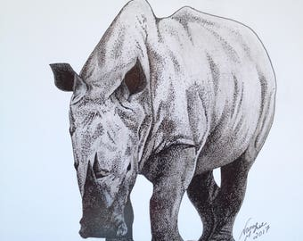 African Rhinoceros Drawing, Pen Sketch, African White Rhino, Africa, Rhinoceros, Rhino, Wildlife, Black and White, Drawing, Picture