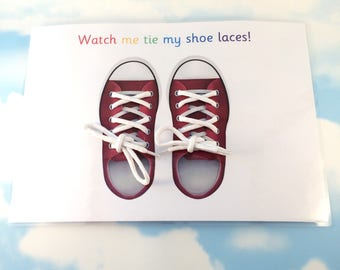 Learn to tie shoe laces, Tie Bootlaces, Tie my shoes, Real shoe laces, School, teaching resource, visual learner, learning sheet