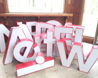 Large Marquee Sign Letters Metal Illuminate Red Letter