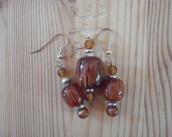 Amber and Silver Earrings and Necklace
