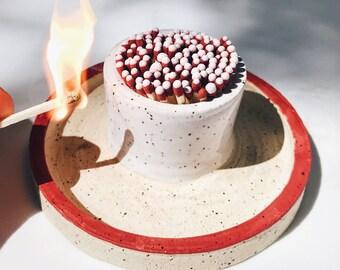 Ceramic Match Striker, Unglazed, White, Candle Lighter, Fireplace Accessory