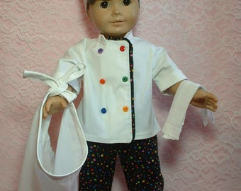 "Chef Outfit for 18"" doll, fits American Girl Doll"