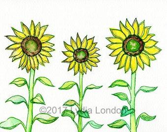 Three Sunflowers Letter Size Digital Print, flowers, yellow, sunshine, bright, summer, vivid, illustration, floral, artwork, wall art