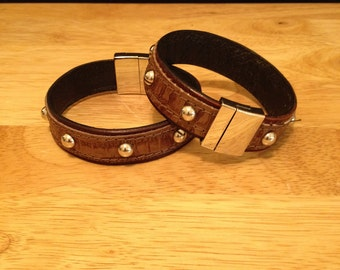 Handmade Genuine Leather Studded Cuff/Bracelet with Magnetic Clasp