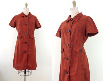 Vintage 1960s rust floral cotton day dress | 60s cotton dress | floral dress | L