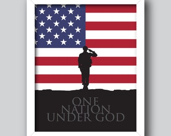 One Nation Under God – Patriotic Printable, 4th of July, USA *Instant download* [5x7, 8x10, 11x14] Digital Print