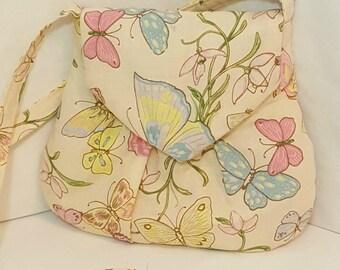 Small hobo style bag - Tote bag - Handmade bag - Ivory butterfly shoulder bag - Butterfly handbag - Small butterfly handbag