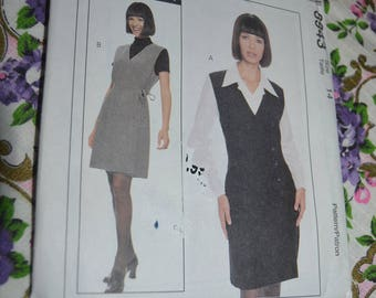 McCalls 8943 MIsses Lined Jumper and Blouse Sewing Pattern - UNCUT - Size  14