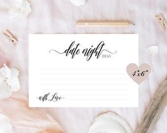 Date night ideas - printable cards 4x6, Date night cards, Date night jar cards, Bridal shower date night ideas, Date night jar ideas, PDF
