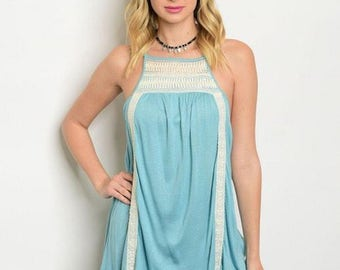 Spring/Summer Blue Ivory Tunic with Square Neck and Crotchet Detail
