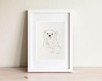 Illustration ours blanc, white bear Illustration / fait main, handmade