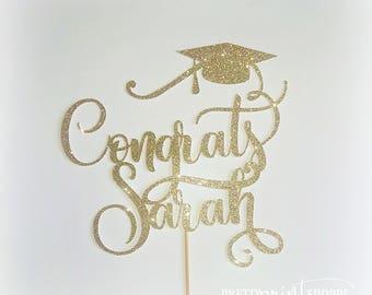 Graduation cake topper, grad cake topper, graduate decoration, prom, gold graduation topper, congrats cake topper, prom cake topper
