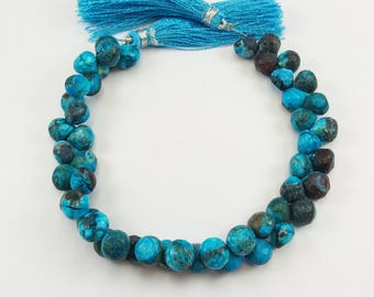 Turquoise Onion Shape, 8.5 mm x 7.5 mm Turquoise, Faceted Onion Turquoise Briolette Cut Beads, Turquoise Beads 8 Inch Strand