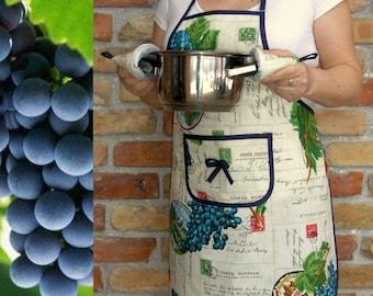 Women's apron - Grape + 2 potholders