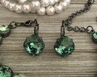 ENVIOUS - 12mm Square Cushion Cut Swarovski Crystal Earrings - Green, Erinite, Hematite