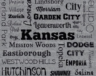 Kansas Cities fabric - Fat Quarter - purple and black - grey and black